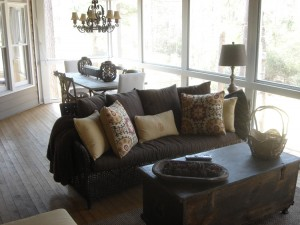 Macon Warner Robins Screened Porch wood floors fireplace