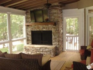 Macon GA screened porch with fireplace