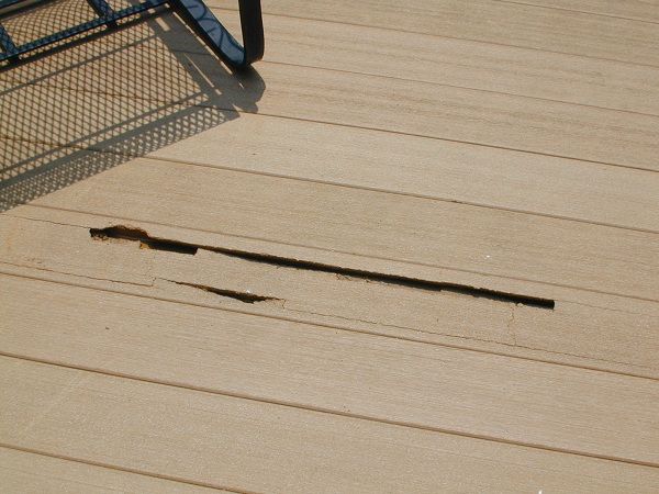 crumbling composite decking