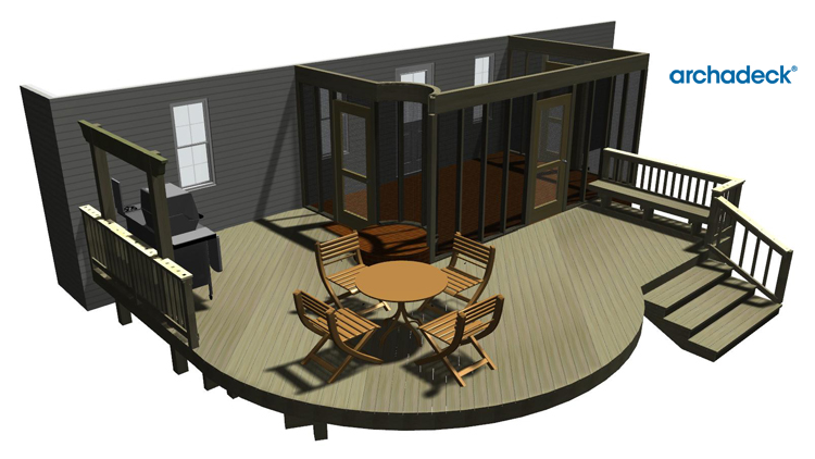 round deck design drawing - hawkinsville - georgia