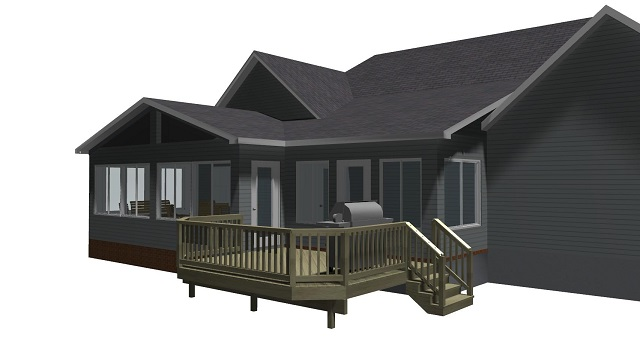 Design rendering for Rivoli Rd sunroom and deck