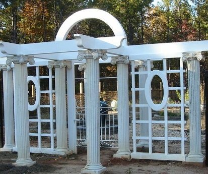 Central GA custom entry pergola into outdoor living space combination