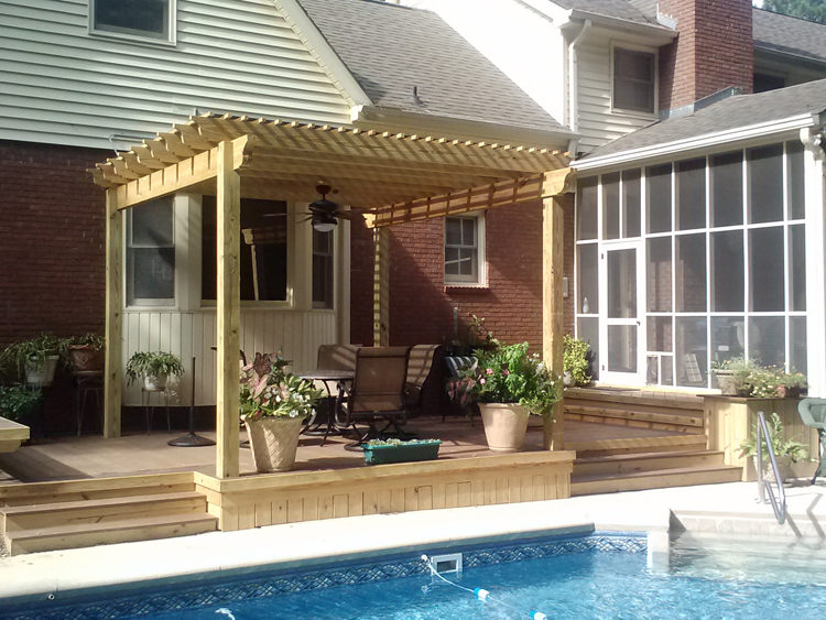 pool side deck and pergola-macon GA