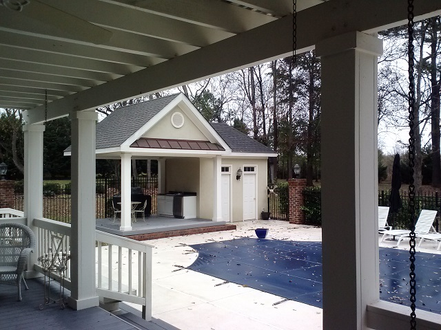 View from Perry GA composite deck looking into poolhouse pavilion