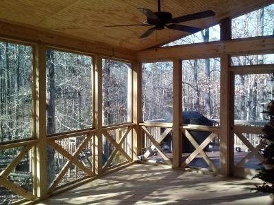 Rustic Shed Roof Screen Porch