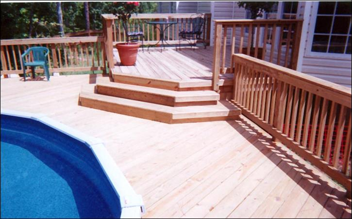 Pool decks and patios archadeck of central ga - Above ground composite pool deck ...