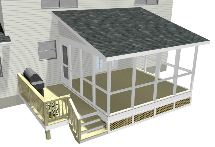 Screened porches archadeck of central ga for Shed roof screened porch plans