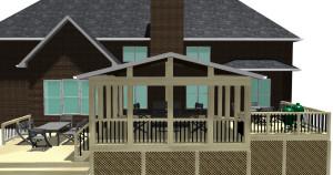 Macon open porch design plan Archadeck
