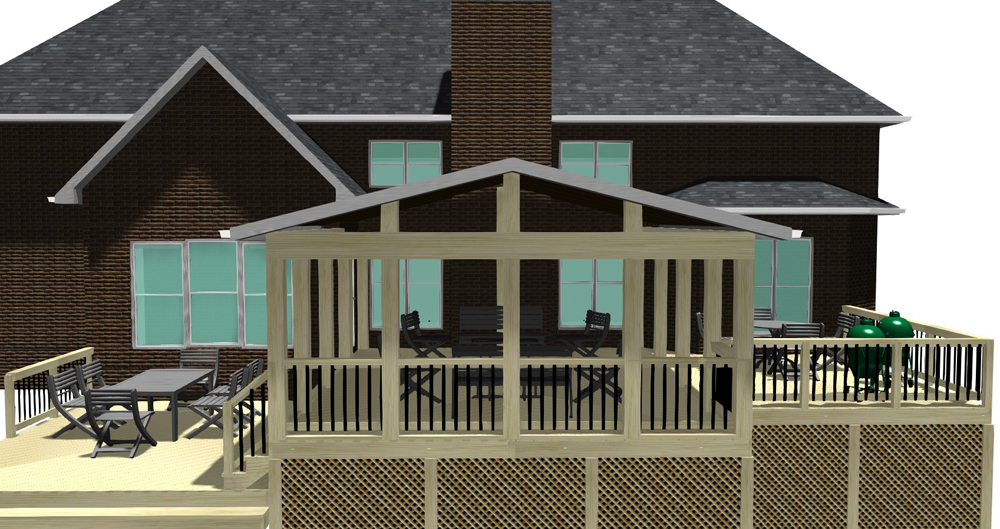 Macon open porch design plan Archadeck