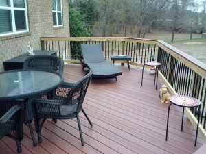 TimberTech composite deck with black metal pickets Warner Robins lr