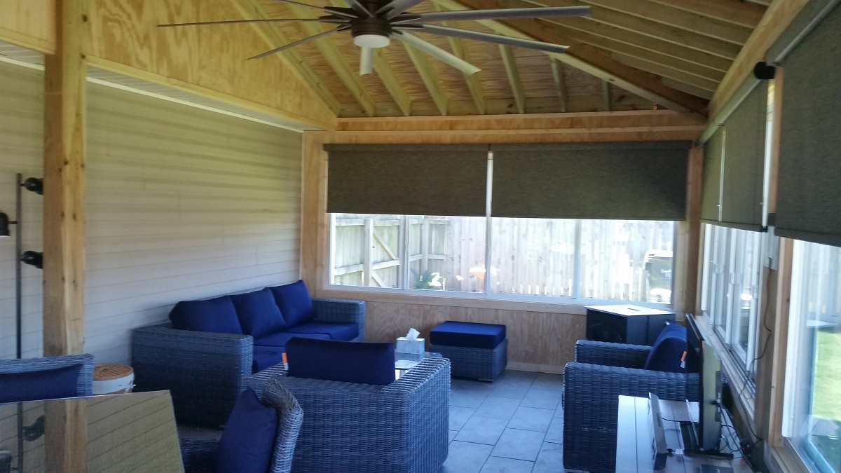 Beautiful open rafter ceiling in Warner Robins GA sunroom